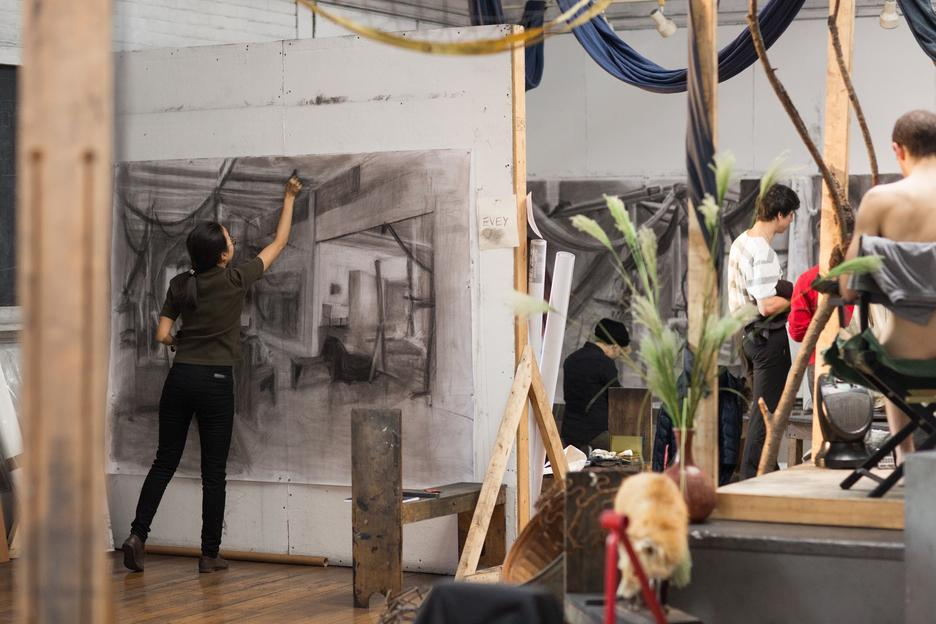Students work on large-scale still life drawings in the Experimental and Foundation Studies studios