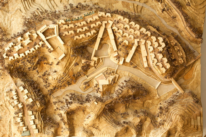 An overhead view of a scale architectural model