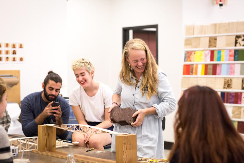 Furniture Design students socializing in the studio