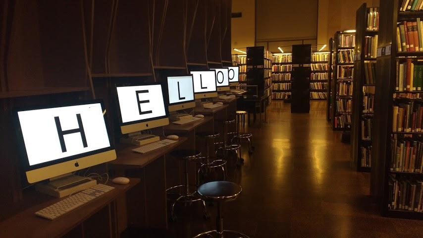 Student work by Graphic Design graduate alum Elizabeth Leeper installed inside RISD's library