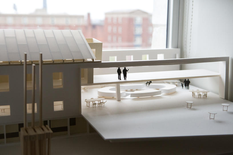 a model of an Interior Architecture student-designed indoor/outdoor complex