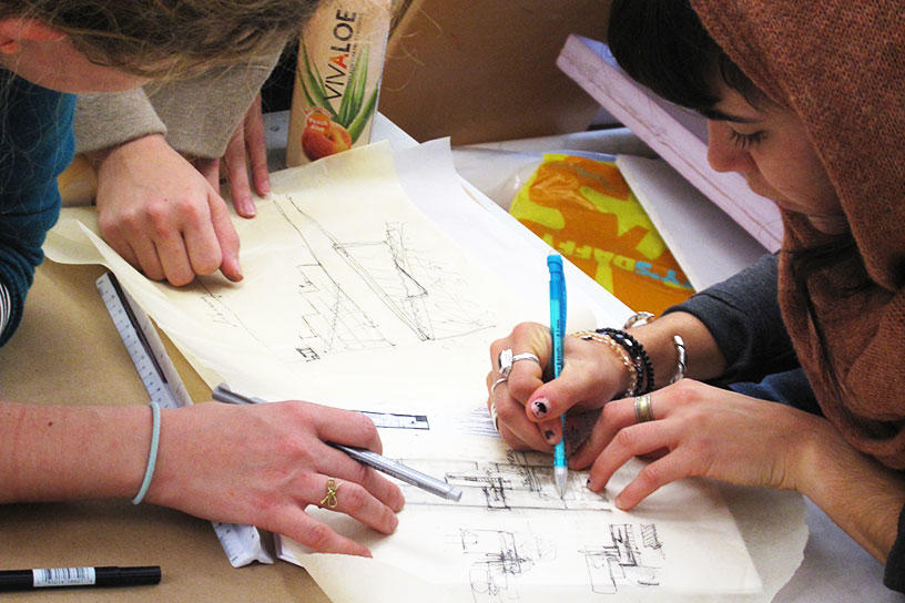 Interior Architecture students sketching together