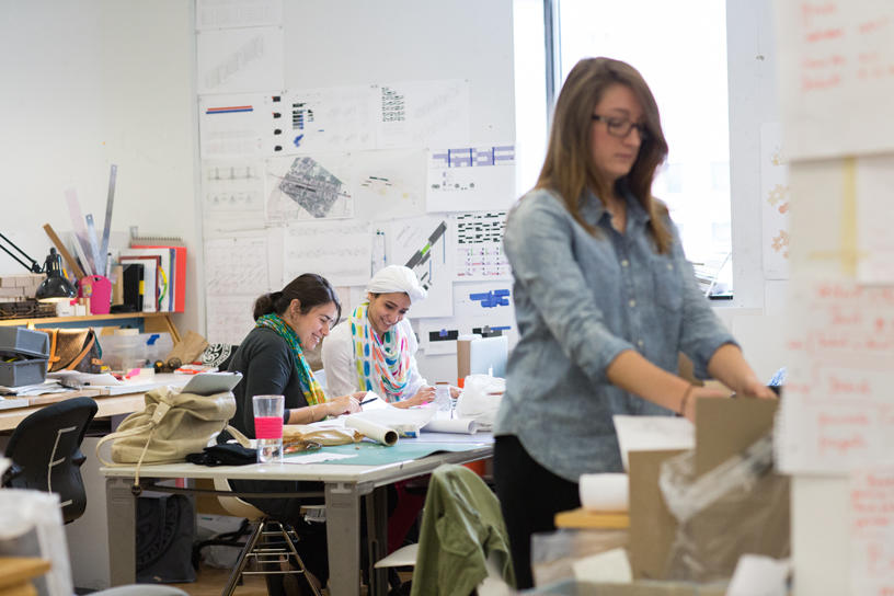 Interior Architecture students work inside the studio
