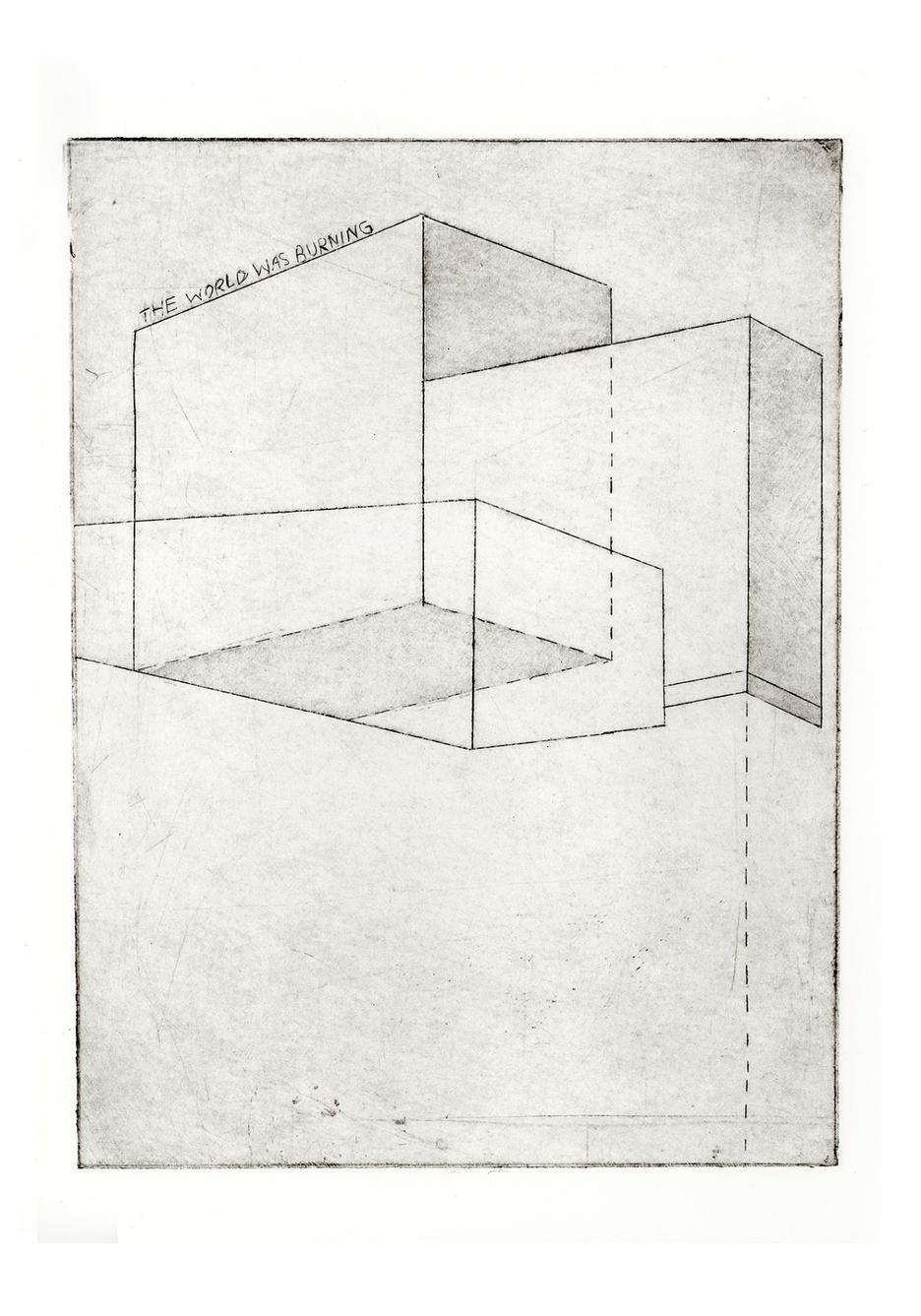 "sketch of cubes with the words ""The world was burning"" on top"
