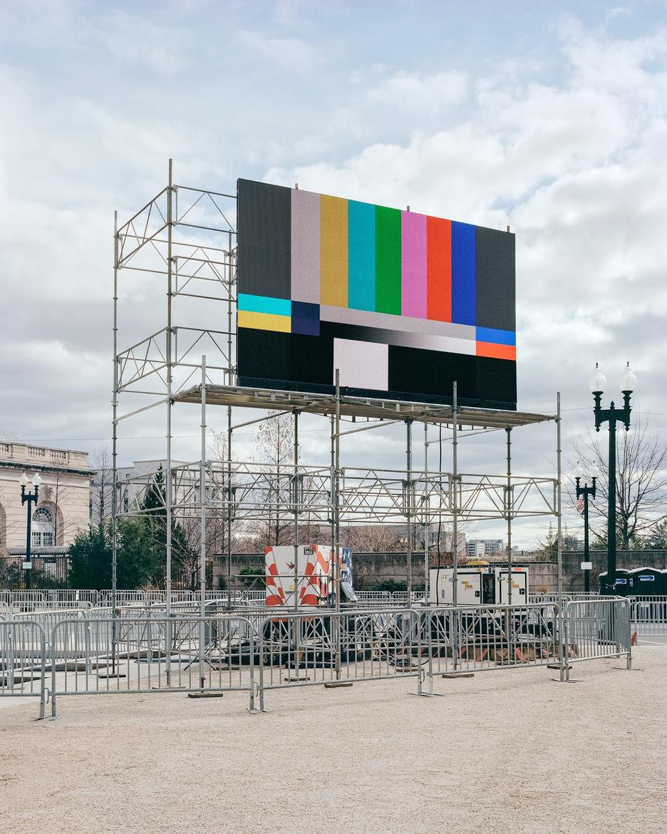 Student work by Chase Barnes MFA 2018. Photograph of a billboard displaying SMPTE color bars.