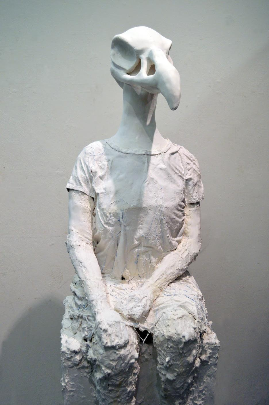 Student work by Emily Whynott BFA 2020. Sculpture of a human figure with the head of a bird.