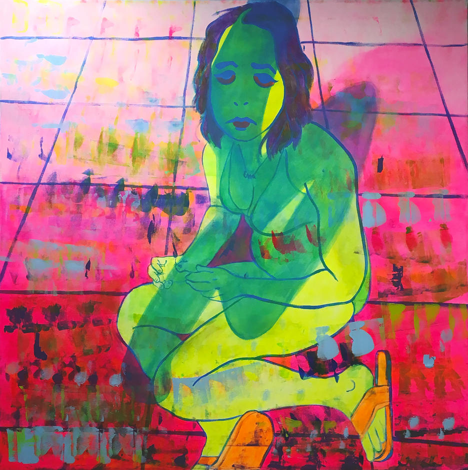 painting  of a bright green woman sitting on a bright pink tiled floor