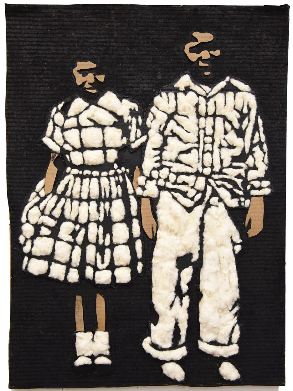 Student artwork showing two children using cardboard and fabric