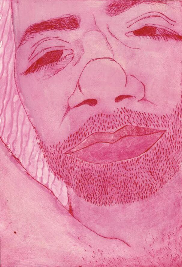 Student artwork showcasing a drawing of a bearded person using only the color pink