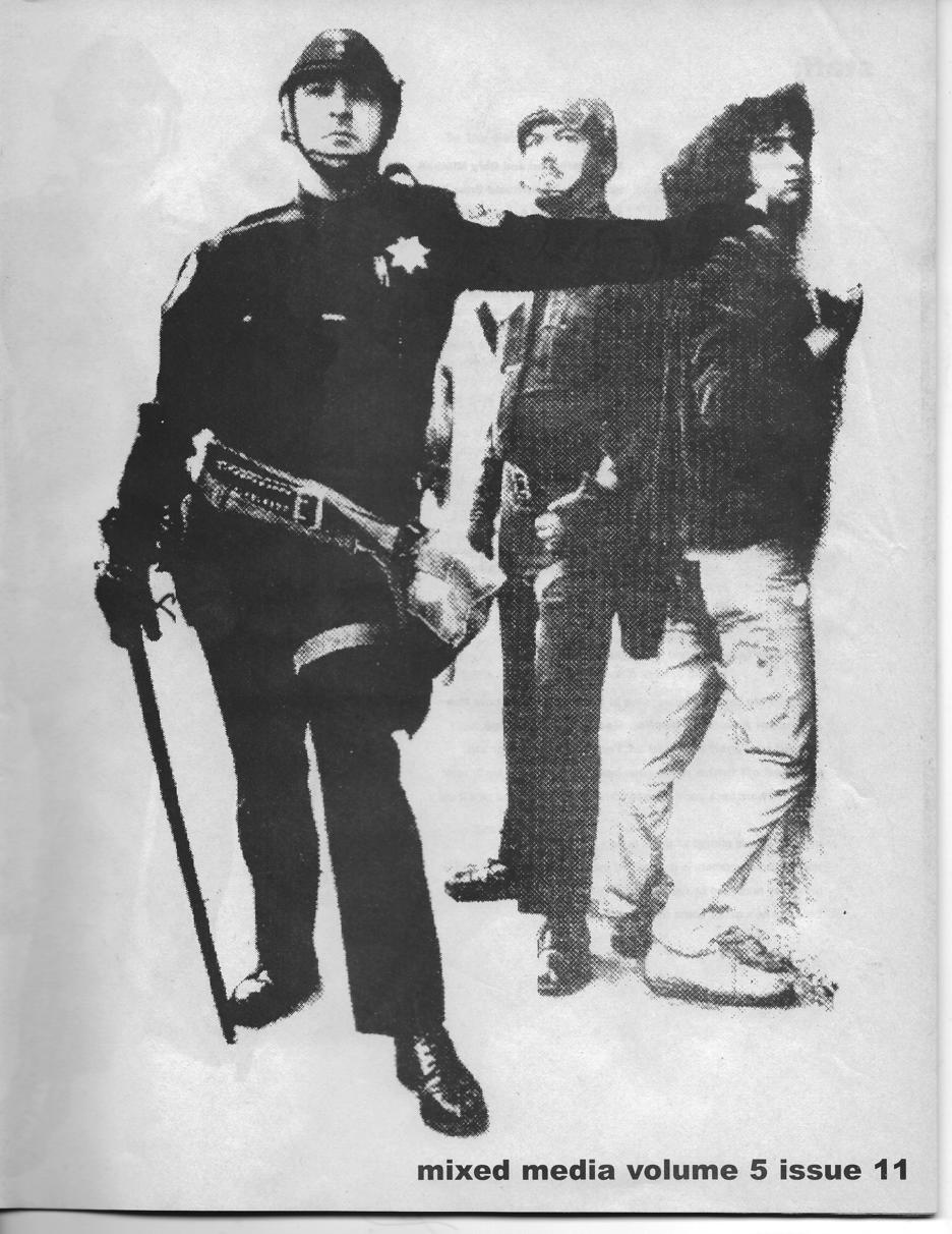 Defiant cop holding person against a wall