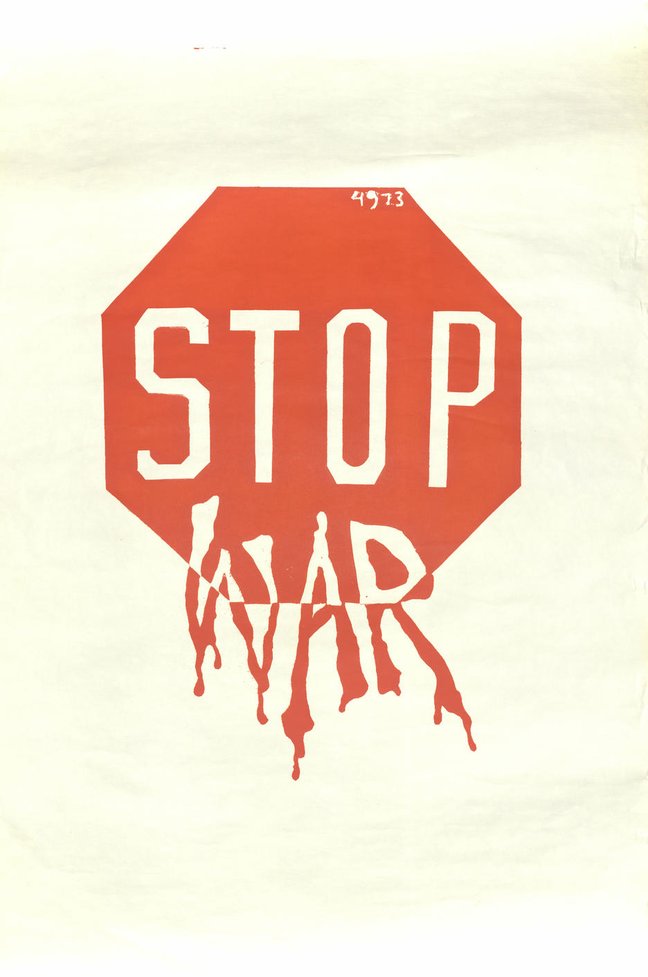 "Red stop sign with ""war"" added below"